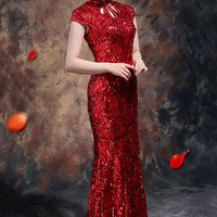 Beaded Mermaid Chinese Bridal Qipao Dress