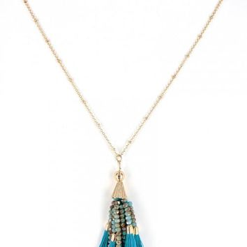 Natural Beaded Turquoise Tassel Necklace