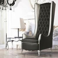 Tufted high-back leather armchair with armrests NINA LUXURY Lumiere Collection by Formenti