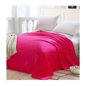 Plush Soft Queen Soild Color Micro fleece Bed Throw Blanket  Rose Red