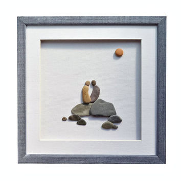 Romantic pebble art wall décor, New home housewarming gift, Love art, Unique couple or family Christmas gift, Framed beach stones artwork