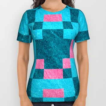 Teal Pink Pixel Pattern All Over Print Shirt by Likelikes | Society6