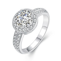 Round Diamond Pave 18k White Gold Plated Ring