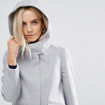 ASOS PETITE Hooded Slim Coat with Zip Front at asos.com