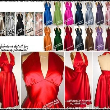 1950s Retro Dream... Satin Full Skirt Skirt Marilyn Halter Dress...Order MORE and SAVE!