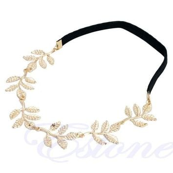 ONETOW Greek Goddess Peace Angel Golden Olive Leaves Elastic Hair Band Headband Vintage