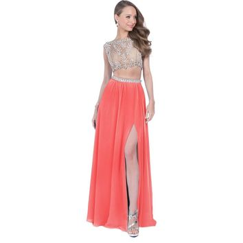 Terani Couture Embellished Sleeveless Crop Top Dress