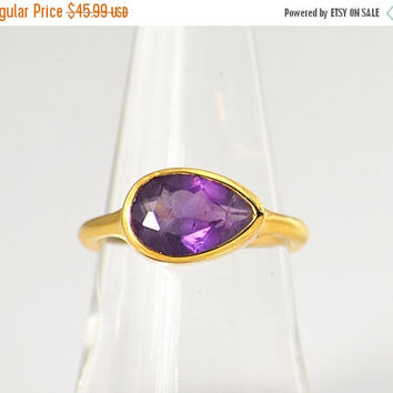 ON SALE Purple Amethyst Ring - February Birthstone Ring - Gemstone Ring - Stacking Ring - Gold Plated - tear drop Ring, gift for her, stacka