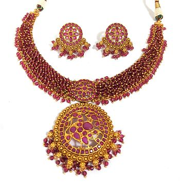 Bold statement Traditional Peacock Pendant with crystal bead hand setted choker necklace and stud earring set