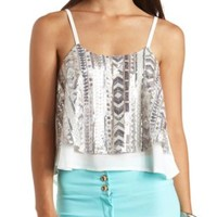 Layered Sequin Swing Crop Top by Charlotte Russe - Ivory Combo