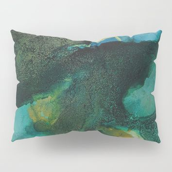 Green and Gold Pillow Sham by duckyb