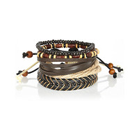 River Island MensBrown mixed beaded and woven bracelet pack