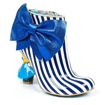 DCCKLP2 Irregular Choice Alice in Wonderland Collection: Who in the World Am I? Blue/White Heel Boots