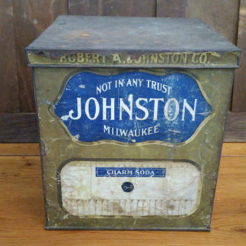 Vintage Large Metal Robert A Johnson Co Charm Soda Biscuit Cracker Cookie Tin