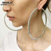 MANILAI Luxury 100mm Diameter Big Crystal Hoop Earrings Statement Jewelry Rhinestones Earrings For Women Wedding Brincos 2017
