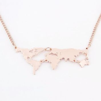 World Map Necklace in Rose Gold or Gold