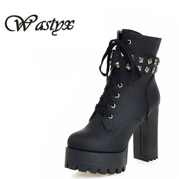 Wastyx new women boots Big Size 34-48 Lace Up Mid Calf Women Boots Shoes New Square Heel High Boots Winter Fashion Platform Pump