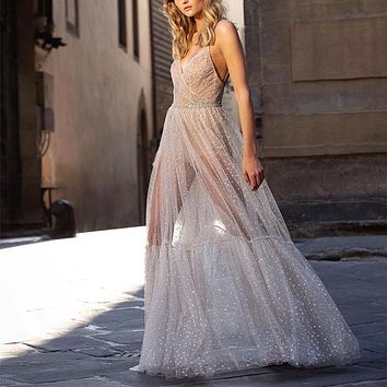 Mesh See Through Maxi Dress
