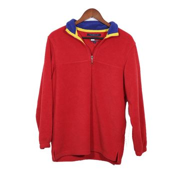 Red Fleece Tommy Hilfiger Half Zip Sweater