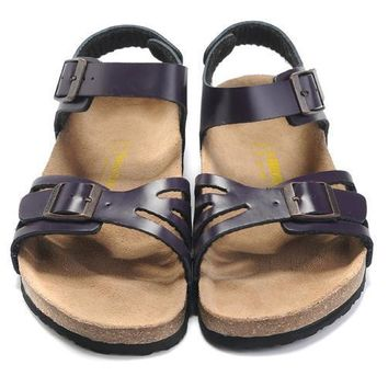 Birkenstock Leather Cork Flats Shoes Women Men Casual Sandals Shoes Soft Footbed Slippers-1