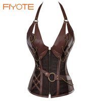 FIYOTE New Female Sexy Leather Corset 14 Steel Bone with Thong LC5401 Vintage 2017 Leather Lace Up Corset For waist trainer