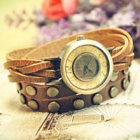 Wrist Watch Handmade Wristwatches Vintage Ladies Girls Womens Mens Leather Bangle Studded Bracelet Quartz (WAT0004)