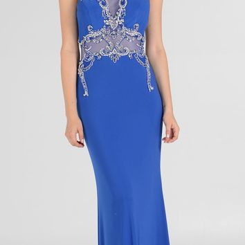 Sheer Illusion Rhinestone Bodice Racer Back Pageant Gown Royal Blue