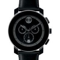 Movado Swiss Chronograph Bold Black Coated Leather Strap Watch 44mm 3600089
