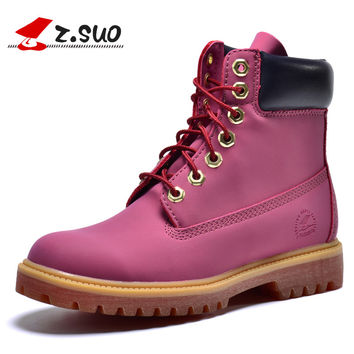Z.Suo Western women ankle casual pink Leather waterproof Tooling military boots Motorcycle womens Martin Outdoor war snow shoes