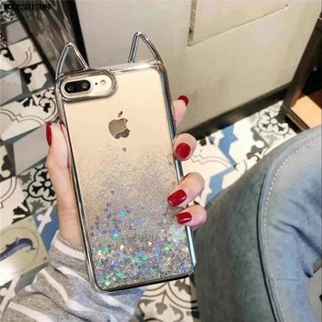 Liquid Water Case for iPhone X Minnie Mickey Mouse Cat Ear Rhinestone Diamond TPU Bling Glitter Cover for iPhone 6 6S 7 8 Plus