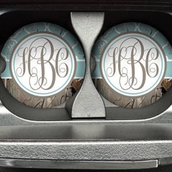 Personalized Monogrammed Car Coasters Blue Quatrefoil Buck Deer Head Camo , Cup Holder Coaster, Custom Monogram Gift, Sandstone Coaster
