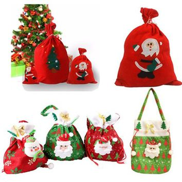 Hot Fashion Merry Christmas Santa Sack Gift Presents Bag Christmas Tree Candy Bags Wine Stocking Bottle Gift Bag Xmas Decoration