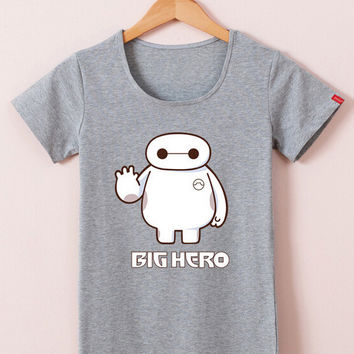 Gray Big Hero Cartoon Print Short Sleeve Graphic Tee