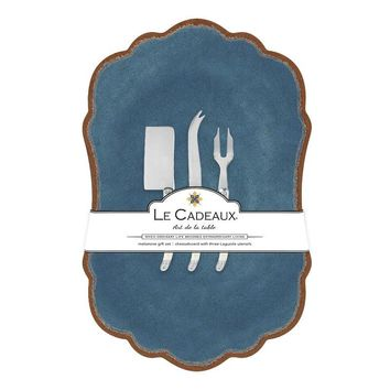 Antiqua Blue Large Cheese Board with Utensils