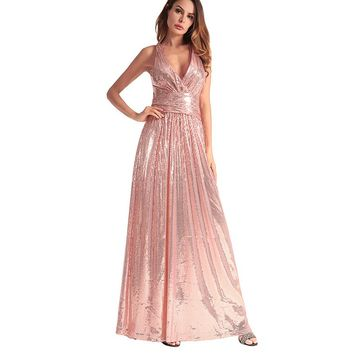 Backless Shinning Sequins V-neck Long Party Bridesmaid Dress