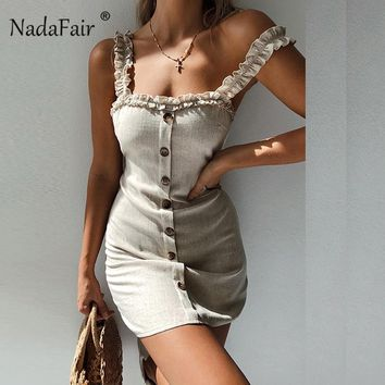 Nadafair ruffles women sexy bodycon summer dress backless casual mini dress single-breasted lace up beach strap wrap dress
