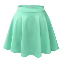 Womens Basic Versatile Stretchy Flared Skater Skirt