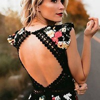 Serene Dreams Black Floral Maxi Dress