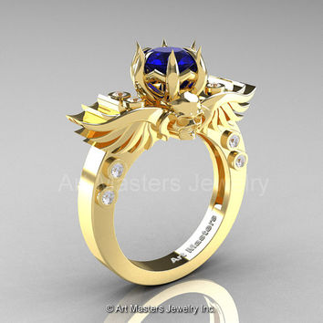 Art Masters Classic Winged Skull 14K Yellow Gold 1.0 Ct Royal Blue Sapphire Diamond Solitaire Engagement Ring R613-14KYGDRBS