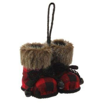 LMFIW1 Christmas Cabin Red and Black Plaid Boot Set Ornament with Faux Fur Cuffs 4-in
