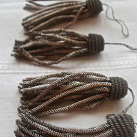 6 pc Antique Metallic Tassels Old New Stock French Supplies 1890s Burlesque Home Decor Hollywood Regency Period Costume Design Millinery