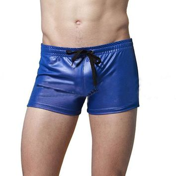 Swimming Beach Swinmsuits Hot Spring Imitation Leather Sport Boxers Trunks for Men