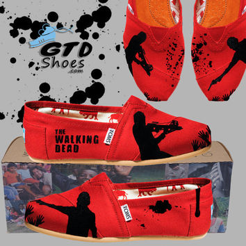 Hand Painted Toms. The Walking Dead. Rick Grimes. Daryl Dixon. Walkers. Zombies. Handpainted shoes.