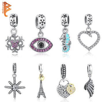 Fits Original Pandora Charms Bracelets 925 Sterling Silver Eiffel Tower,Clear CZ Snowflake Bow Heart Pendant Charms DIY Jewelry