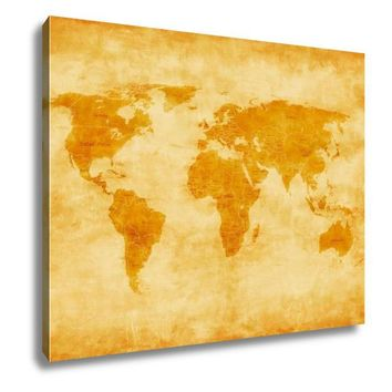 Gallery Wrapped Canvas, Old World Map Vintage Antique