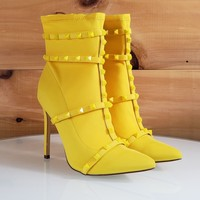 So Me Billie Yellow Pointy Toe High Heel Ankle Boot Cage Studded Straps