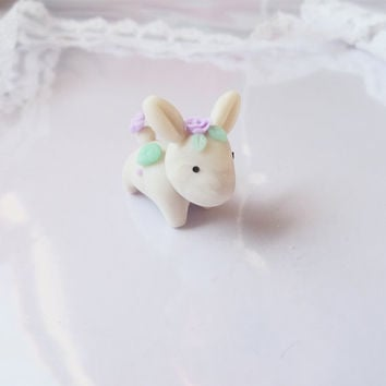 Pearl Bunny Figurine, Handmade Polymer Clay Rabbit Sculpture, Kawaii Tiny Fantasy Creature, Cute Spirit Animal,