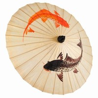 Artsitic Hand Painted Koi Fish Paper Parasol Umbrella, Paper Parasols