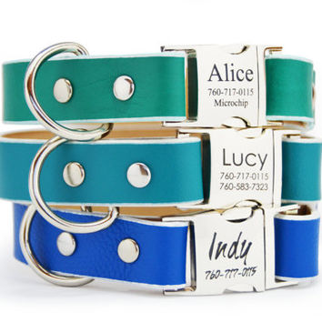 31 Colors Personalized Leather Dog Collar Engraved Buckle Handmade Emerald Teal Royal Blue