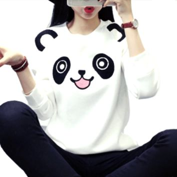 Cute Panda Bear Face Print Long Sleeve Pullover Sweatshirt Sweater for Women